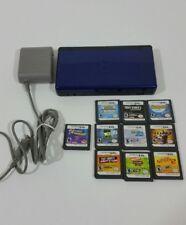 Nintendo DS Lite Cobalt Blau Bundle mit Ladekabel 10 Spiele Pokemon Iron Man FIFA