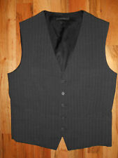 Vest Mens 40R Waistcoat Black 5 Buttons 4 Pocket Pinstriped 6V28