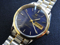 MEN'S  OMEGA   SEAMASTER   DAY  DATE   GOLD/SS   AUTOMATIC  SERVICED  BLUE DIAL
