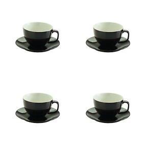 4 x LARGE TWO TONE CUP SAUCER BROWN CAPPUCCINO MOCHA COFFEE LATTE TEA 400ML