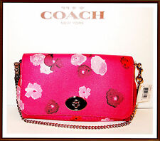 Coach Floral Leather Trim Flap Crossbody Bag Purse Clutch Wristlet RUBY PINK NEW
