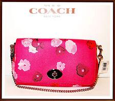 NWT $295 Coach Floral Leather Trim Flap Crossbody Bag Clutch Wristlet RUBY PINK