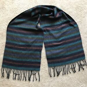 Vtg Mens Christian Dior Monsieur Cashmaire Acrylic Scarf Blue Green Red Striped