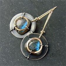 Fashion 925 Silver Moonstone Ear Hook Dangle Women Wedding Jewelry Earrings