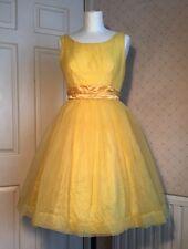 Vintage Original 1950s Yellow Bri Nylon Debut Full Skirt Dress & Petticoat 8 Xs