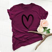 S-5XL Fashion Women Short Sleeve Heart Print Casual T Shirt Summer Top Shirt Tee