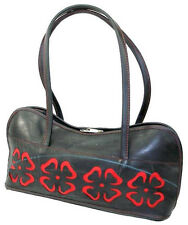 Handbag - Black Recycled Tire Bag with Red Cutout Floral Accents
