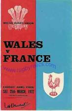 WALES v FRANCE 1972 RUGBY PROGRAMME 25 Mar at CARDIFF