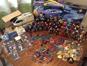 "Classic Playmates 5"" STAR TREK Lot Of 51 Figures, Shuttlecraft, Weapons, & Case"