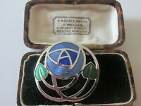 VINTAGE SIGNED CLOISONNE BLUE ENAMEL CELTIC MACKINTOSH GLASGOW ROSE  BROOCH PIN