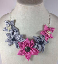 Statement Necklace Pink Silver Fabric Floral Flower Textile Handmade Crystal New