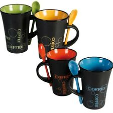 Set of 4 Modern Coffee Tea Hot Chocolate Mugs with Spoon Hot Drinks Ceramic Cups