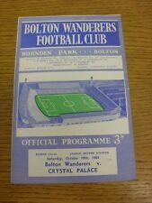 10/10/1964 Bolton Wanderers V Crystal Palace (RIP 1cm attraverso il programma righ
