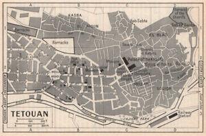 Tetouan vintage town city tourist plan. Morocco 1966 old vintage map chart