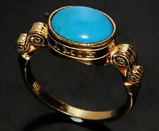 "Antique 9ct Yellow Gold on Silver ""Amie & Amet"" Natural Turquoise Ring size Q"