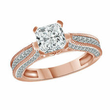2.40 Ct Solid Cushion Cut Solitaire Engagement Ring 14k Rose Gold