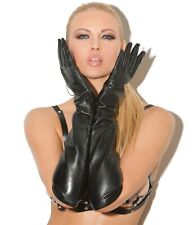 Elegant Moments Sexy Black Black Long Leather Evening Gloves One Size