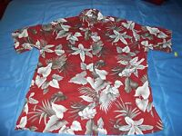 Mens Pierre Cardin Large Button Down Floral Hawaiian Shirt