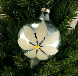 USA Pointed Finial Ball Glass Christmas Ornament Light Blue With White Flower