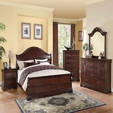 Beverly Cherry Formal Traditional Antique Queen Bed 4Pcs Bedroom Set Furniture