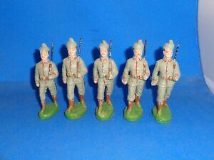 Elastolin 10cm Five German Jager Soldiers Marching Lineol