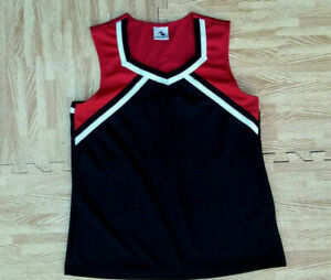 ADULT REAL Augusta Black Red White Cheerleader Uniform Flyer Shell Top 40-42 NEW