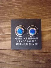 Native American Jewelry Sterling Silver Blue Oval Opal Post Earrings! Zuni India