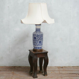 Vintage Chinese Blue And White Ceramic Table Lamp