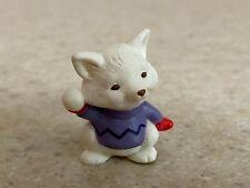 Hallmark 1993 Christmas Merry Miniature Artic Fox with Snowball & Gold Sticker