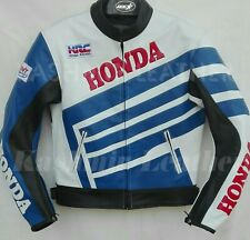 New Mens Blue White Motorcycle Racing Cowhide Leather Biker Jacket For Honda