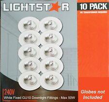 10 x White Fixed Downlight Fittings Frames 240V GU10 70mm Cutout - Max 50W