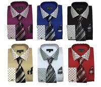 New Men's High Quality Fashion Dress Shirt With Tie&Hanky French Cuff FL630