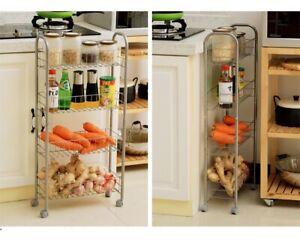 Kitchen Trolley Rolling Cart Storage 4 Tier Organizer Rack Bathroom