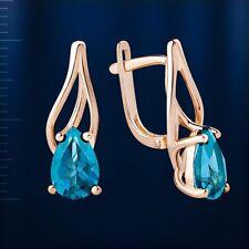 London blauer Topas Ohrringe made in Russia Rose Gold 585 Tropfen Stein Neu