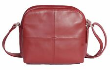 Womens Casual Multi Zip Top Real Red Leather Sling Bag Travel Cross Body Pouch
