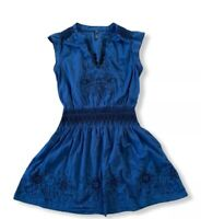 Free People Blue Mini Dress Embroidered Ruffle Cap Sleeve SMALL