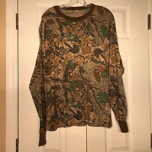 VTG Realtree ADVANTAGE Mens LARGE Long Sleeve Pocket T-Shirt Hunting Camo L