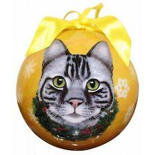 Tabby Silver Cat Christmas Ball Ornament