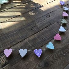 Ditsy Floral Heart Memo Peg String Photo Hanger Message Board Wood Country