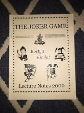 The Joker Game - Lecture Notes 2000 - Kostya Kimlat - Used Card Magic Booklet