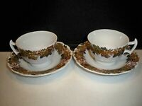 2 BOOTHS 'VINE & WHEAT' CUP AND SAUCER SETS ENGLAND #A-8083