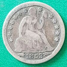 More details for 1853 united states dime coin arrows liberty seated us usa america