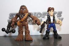 Playskool Star Wars Galactic Heroes Chewbaca Chewy Han Solo 2 Pack Lot