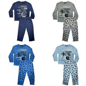 Boys Kids Toddlers Pyjamas Long Sleeve Top Bottom Set Nightwear PJs Football