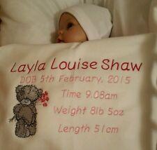 Baby - Personalised Babies Birth Blanket - Keepsake - Embroidered
