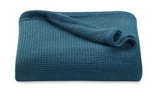 NEW, KENNETH COLE, QUEEN, LINEN BLEND, Waffle blanket, TEAL