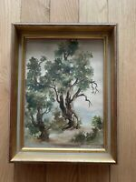 Antique Watercolor Painting, Trees Landscape, Framed, Glassed Amazing Wood Frame