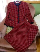 Vintage 90's Skirt Suit Blue & Red Houndstooth Wool Blend Top Sz 10  Skirt Sz 12