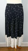 M&S 14 Navy Blue White Polka Dot Spotty Long Pleated Skirt Elasticated Waist