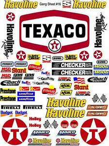 TEXACO Sticker Gang SHEET 16 -R/C MODEL Decal 1/12 -1/10-DIE CUT -NASCAR==16